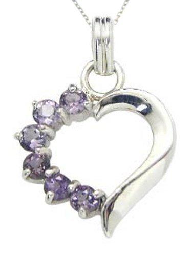 .925 Sterling Silver Amethyst Gemstone Heart Pendant Necklace