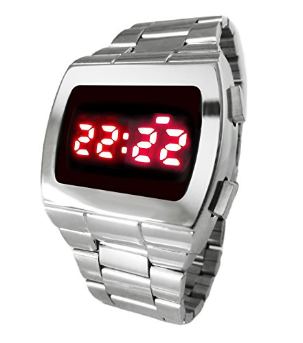 1970s Style LED Watch Gun Metal Digital 70S Retro Watch.The first digital watches looked more or less like the one above, with a red LED display - very cool!