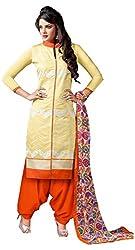 Swaman Yellow Chanderi Dress Material