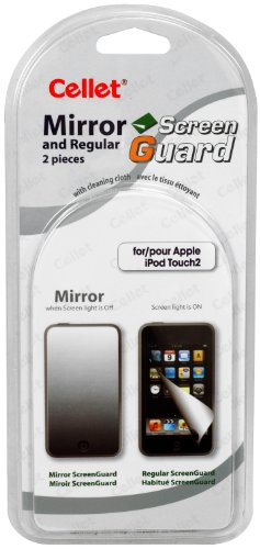 Cellet Super Strong Maximum Protection Mirror & Regular Clear Screen Protector For Apple Ipod Touch 2 front-583737
