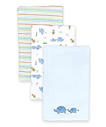 SpaSilk Baby-Boys Newborn 3 Pack 100% Cotton Burp Cloths, Blue Elephant , One Size