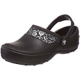 Crocs Women\'s Mercy Clog, Black/Silver, 8 M US