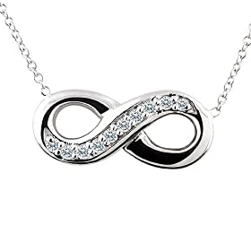 0.10CT Diamond 14K White Gold Infinity Pendant: P&P Luxury
