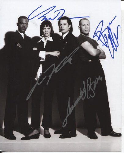 * PULP FICTION * rare signed 8x10 cast photo Travolta, Jackson, Thurman, Willis / UACC Registered Dealer # 212