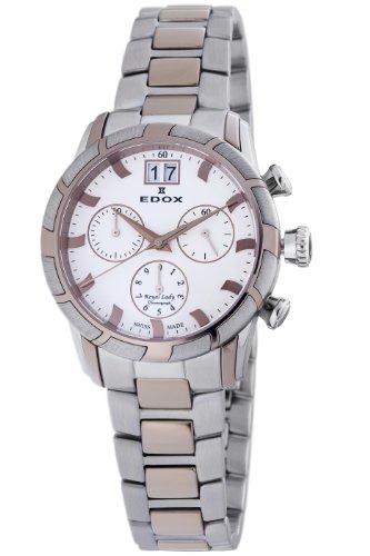 Edox Women's 10019 357R AIR Royal Chronograph White Dial Watch