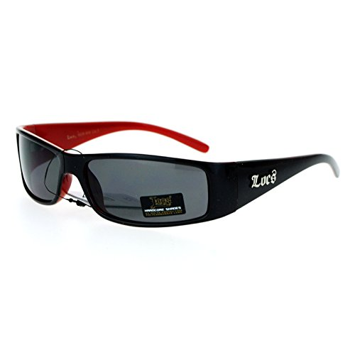 Locs 2 Tone Rectangular Cholo Gangster Warp Biker Thick Arm Sunglasses Black Red (Red Locs Sunglasses compare prices)
