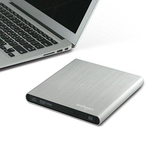 Archgon Stream esterno Masterizzatore DVD CD con USB 2.0 | alluminio spazzolato Caso - Argento | compatibile con PC e Mac | MacBook Pro | Aria | iMac (DVD 4-6x ± RW, CD-ROM 24x, 4x CD-RW, 8x DVD-RAM, 8x DVD ± R, 6x DVD dual Layer, USB 2.0) in argento