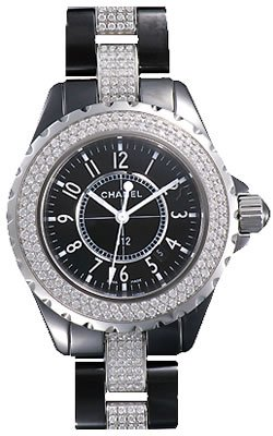 Chanel J12 Diamond Date Quartz Ceramic Watch H1338