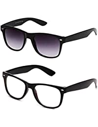 Sheomy Unisex Combo Pack Of Transparent Wayfarer Sunglasses And Black Wayfarer Sunglasses For Men And Women With...