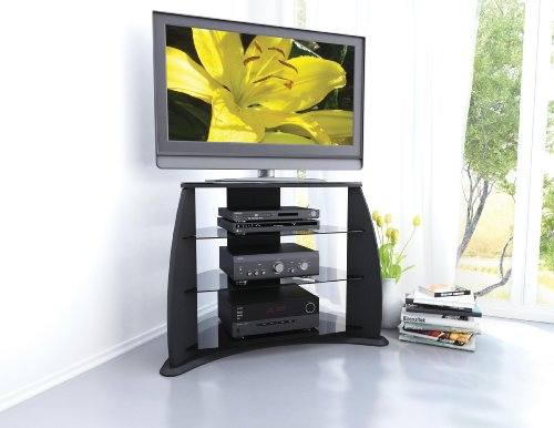 41OnCYIfqML Sonax FP 3000 Florence 34 Inch Midnight Black TV Stand with Glass Shelves