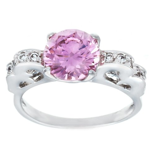 Unusual Silvertone Pink Cubic Zirconia Engagement Style Solitaire Fashion Ring With Looping Side Detail in Clear CZ Size 5