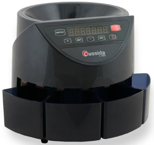 Cassida C100 Electronic Coin Sorter/Counter, Countable coins 1¢, 5¢, 10¢, 25¢, 250 coins/min, 110 VAC (Commercial Adding Machine compare prices)