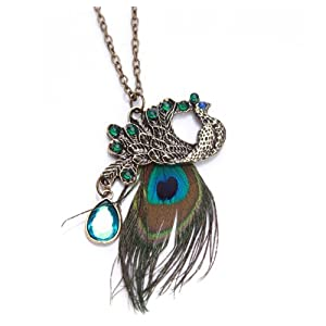 LE Fashion Bronze Peacock Feather Long Chain Retro Necklace