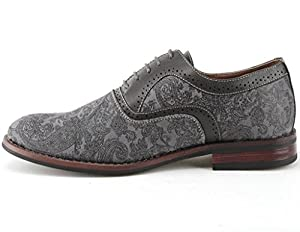 Ferro Aldo Men's 19513AL Vintage Paisley Design Lace Up Oxford Dress Shoes, Gray, 9.5