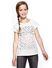 Pure Cotton Heart Glitter T-Shirt