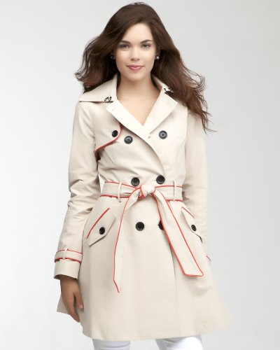 Bebe Leatherette Trim Trench Coat PARCHMENT-FIERY RED Size Small