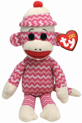 Ty Beanie Babies Socks The Monkey (Pink/White Zig Zag) - 1
