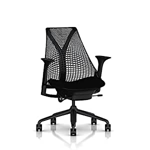 Sayl Chair by Herman Miller: Basic - Fixed Arms - Fixed Seat - Tilt Limiter - Black Base/Black Y-Tower/Black Back/Black Seat/Black Armpad