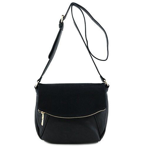 faux-calfskin-leather-crossbody-bag-with-suede-flap-black