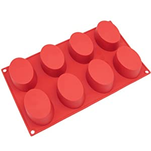 Freshware 8-Cavity Oval Cake Silicone Mold and Baking Pan