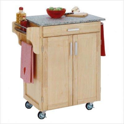 Natural Kitchen Cart with Grey Granite Top