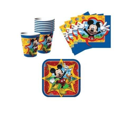 1 X Mickey Mouse Birthday Party Supplies Set Plates Napkins Cups Kit for 16 by BirthdayExpress