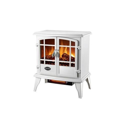 World Marketing #Eqs134 Comfort Glow Keystone Quartz Electric Stove, White - 1500 Watt Heater W/ Blower; Fully Functional Doors; Adjustable Flame; Thermostat