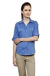Zx3 Women's Strech Formal & Casual Shirt(Shirt_1025_L_Blue)