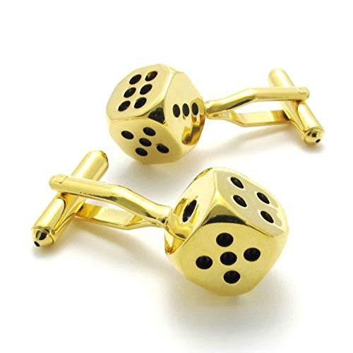 2Pcs Classic Personalized Lucky Dice Shirts Men'S Cufflinks, Color Gold Black, 1 Pair Set