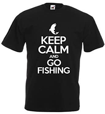 Keep Calm And Go Fishing - Men's Funny Novelty Fishing T-Shirt (Small, Black)