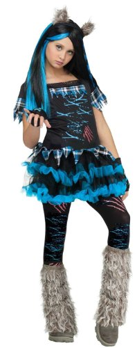 Girl's Wick'd Wolfie Costume: Tween Girl Funky Werewolf Halloween Costume