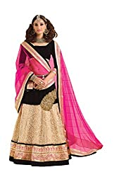 Dlines Beige & Black Embroidered Bridal Lehenga Choli