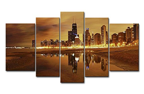 5 Panel Wall Art Painting Chicago Skyline Prints On Canvas The Picture City Pictures Oil For Home Modern Decoration Print Decor (Chicago Skyline Framed Picture compare prices)