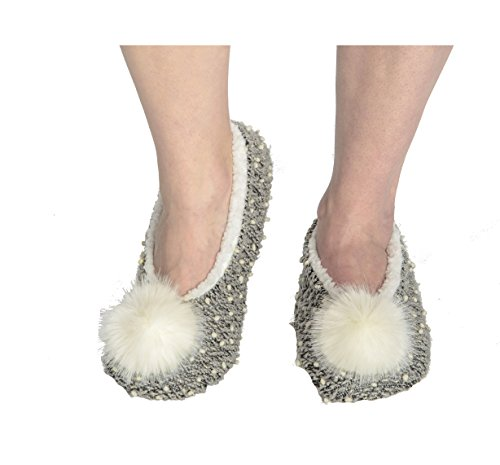 Snoozies Womens Nubby Knit Ballerina Comfort Sole Slippers - Dove Grey, Large