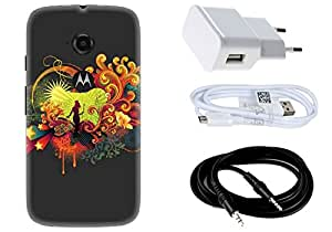Spygen MOTOROLA Moto-E2 Case Combo of Premium Quality Designer Printed 3D Lightweight Slim Matte Finish Hard Case Back Cover + Charger Adapter + High Speed Data Cable + Premium Quality Aux