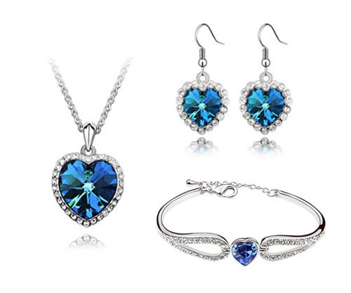 Rarelove Sapphire Crystal 18k White Gold Heart of The Ocean Jewelry Sets Pendant Necklace Earrings Bracelet