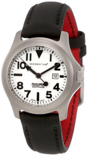 Momentum Atlas TI - Reloj analógico de mujer de cuarzo con correa de varios materiales negra - sumergible a 100 metros