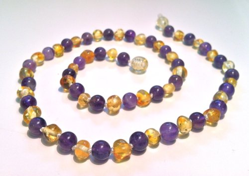 The Art Of Cure Baltic Amber Baby Teething Necklace - Amethyst & Honey