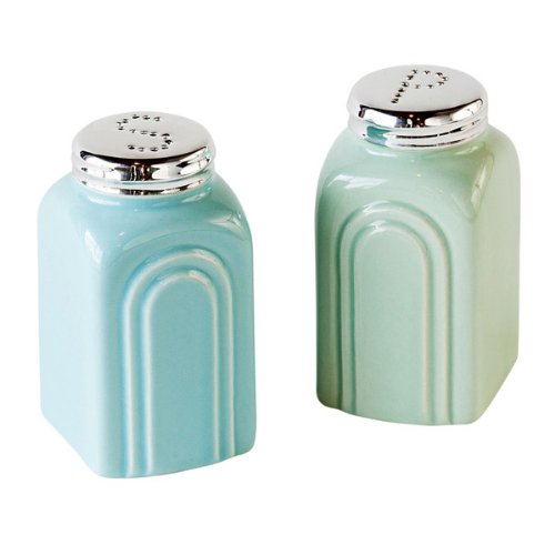 50s Retro Stoneware Salt and Pepper Shakers Set (Salt And Pepper Shakers Green compare prices)