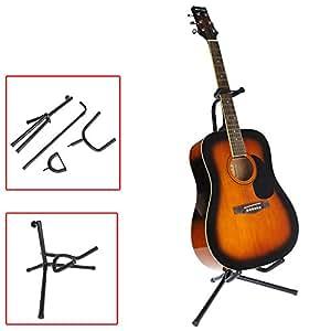 evertrust tm guitar stand tubular acoustic guitar stand folding tripod holder padded. Black Bedroom Furniture Sets. Home Design Ideas