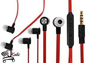 Premium Quality Volume Control In Ear Bud Headset Earphones With Mic Compatible For Alcatel OneTouch Pop Astro -Black With Red