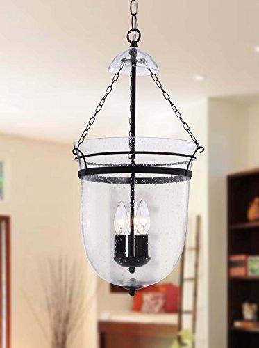 Simple Antique Copper Finish Waved Glass Lantern Chandelier