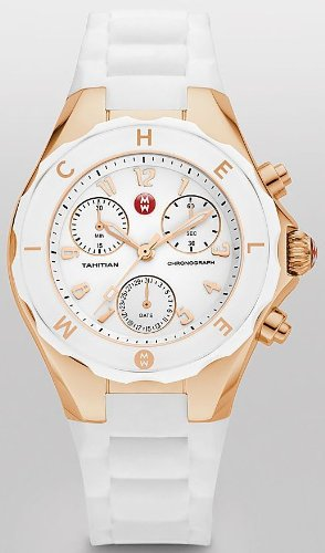 Michele Tahitian Jelly Bean Large White Rubber Strap Chronograph Ladies Watch MW