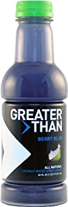 Greater Than Coconut Water Sports Drink, Berry Blue Flavor, 20 Ounce Bottles (Pack of 12)