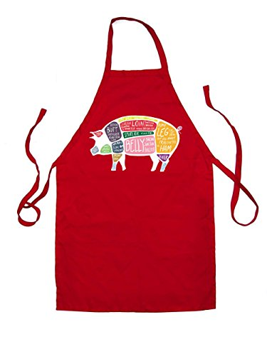 Butcher Pig Diagram - Unisex Fit Kids Apron - Red - One Size (Butcher Farm Animals compare prices)