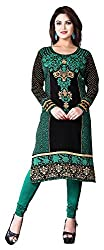 SANVARI FASHION Women's Crepe Straight Kurta (Event113-B, Multi-Coloured, M)