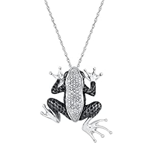 Sterling Silver Diamond and Black Diamond Frog Pendant 1/6ctw