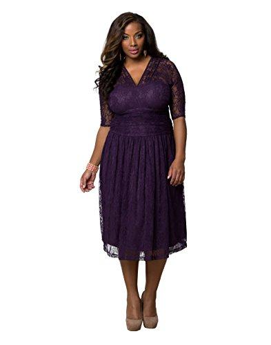 Kiyonna Womens Plus Size Swinging Symphony Dress 5x Purple Carnation