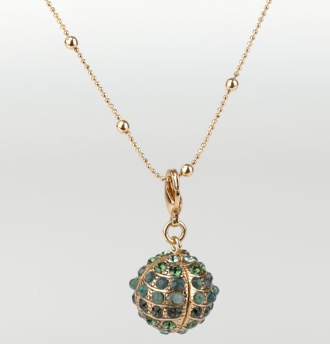 'Deep Forest' Collection 24K Rose Gold Plated Fascinating Chain by Amaro Jewelry Studio Beautifully Made with Ball Shaped Pendant, Abalone Green, Green Aventurine, Green Onyx, Jade, Labradorite and Swarovski Crystals