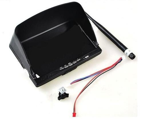 Gowe 7 inch LCD HD FPV Monitor Built-in Lipo Battery and 5.8G Wireless AV Receiver with sun shade Hood For 7inch Screen 5.8Ghz 7""